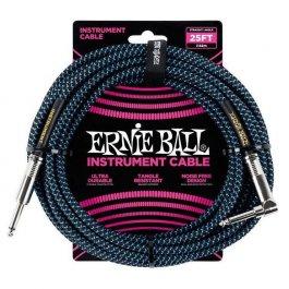 Ernie Ball 6060 Καλώδιο Braided Καρφί-Γωνία 7,6m Black Blue PRODUCTS FROM XML Μουσικα Οργανα - Κιθαρες - Kagmakis Guitars