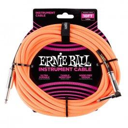 Ernie Ball 6079 Καλώδιο Braided Καρφί-Γωνία 3m Neon Orange PRODUCTS FROM XML Μουσικα Οργανα - Κιθαρες - Kagmakis Guitars