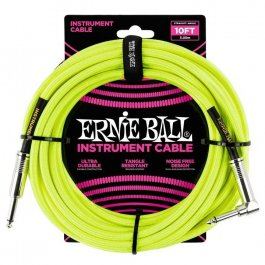 Ernie Ball 6080 Καλώδιο Braided Καρφί-Γωνία 3m Neon Yellow PRODUCTS FROM XML Μουσικα Οργανα - Κιθαρες - Kagmakis Guitars