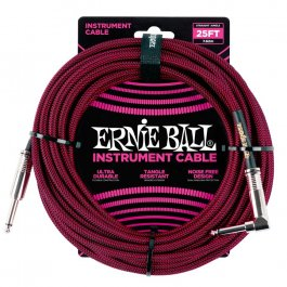 Ernie Ball 6062 Καλώδιο Braided Καρφί-Γωνία 7,6m Black Red PRODUCTS FROM XML Μουσικα Οργανα - Κιθαρες - Kagmakis Guitars