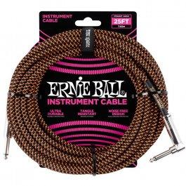 Ernie Ball 6064 Καλώδιο Braided Καρφί-Γωνία 7,6m Black Orange PRODUCTS FROM XML Μουσικα Οργανα - Κιθαρες - Kagmakis Guitars
